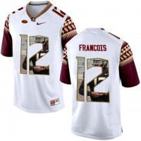 Florida State Seminoles #12 Deondre Francois White With Portrait Print College Football Jersey