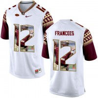 Florida State Seminoles #12 Deondre Francois White With Portrait Print College Football Jersey2