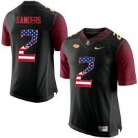 Florida State Seminoles #2 Deion Sanders Black USA Flag College Football Limited Jersey