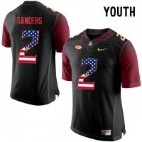 Florida State Seminoles #2 Deion Sanders Black USA Flag College Football Youth Limited Jersey