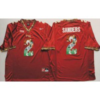Florida State Seminoles #2 Deion Sanders Red Player Fashion Stitched NCAA Jersey