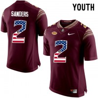 Florida State Seminoles #2 Deion Sanders Red USA Flag College Football Youth Limited Jersey
