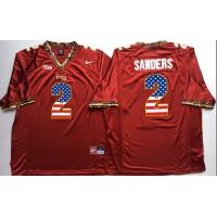 Florida State Seminoles #2 Deion Sanders Red USA Flag College Jersey