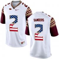 Florida State Seminoles #2 Deion Sanders White USA Flag College Football Limited Jersey