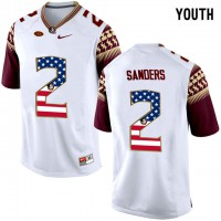 Florida State Seminoles #2 Deion Sanders White USA Flag College Football Youth Limited Jersey