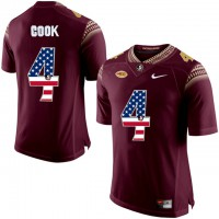 Florida State Seminoles #4 Dalvin Cook Red USA Flag College Football Limited Jersey