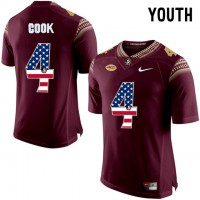 Florida State Seminoles #4 Dalvin Cook Red USA Flag College Football Youth Limited Jersey