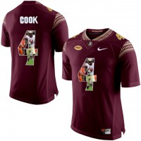Florida State Seminoles #4 Dalvin Cook Red With Portrait Print College Football Jersey
