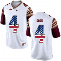 Florida State Seminoles #4 Dalvin Cook White USA Flag College Football Limited Jersey