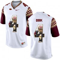 Florida State Seminoles #4 Dalvin Cook White With Portrait Print College Football Jersey