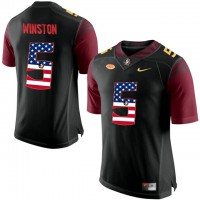 Florida State Seminoles #5 Jameis Winston Black USA Flag College Football Limited Jersey