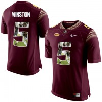 Florida State Seminoles #5 Jameis Winston Red With Portrait Print College Football Jersey