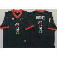Georgia Bulldogs #1 Sony Michel Black Player Fashion Stitched NCAA Jersey