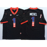 Georgia Bulldogs #1 Sony Michel Black USA Flag College Jersey