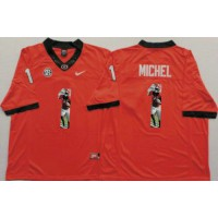 Georgia Bulldogs #1 Sony Michel Red Player Fashion Stitched NCAA Jersey