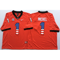 Georgia Bulldogs #1 Sony Michel Red USA Flag College Jersey