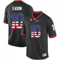 Georgia Bulldogs #10 Jacob Eason Black USA Flag College Football Jersey