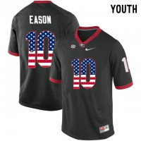 Georgia Bulldogs #10 Jacob Eason Black USA Flag Youth College Football Jersey