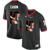 Georgia Bulldogs #10 Jacob Eason Black With Portrait Print College Football Jersey