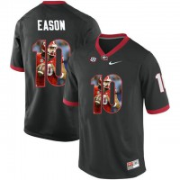 Georgia Bulldogs #10 Jacob Eason Black With Portrait Print College Football Jersey2