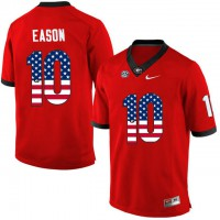 Georgia Bulldogs #10 Jacob Eason Red USA Flag College Football Jersey