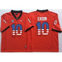 Georgia Bulldogs #10 Jacob Eason Red USA Flag College Jersey