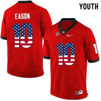Georgia Bulldogs #10 Jacob Eason Red USA Flag Youth College Football Jersey