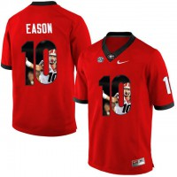 Georgia Bulldogs #10 Jacob Eason Red With Portrait Print College Football Jersey