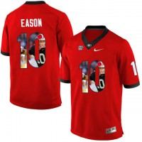 Georgia Bulldogs #10 Jacob Eason Red With Portrait Print College Football Jersey2