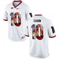 Georgia Bulldogs #10 Jacob Eason White With Portrait Print College Football Jersey2