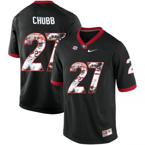 4c5c17baa Georgia Bulldogs  27 Nick Chubb Black With Portrait Print College Football  Jersey2