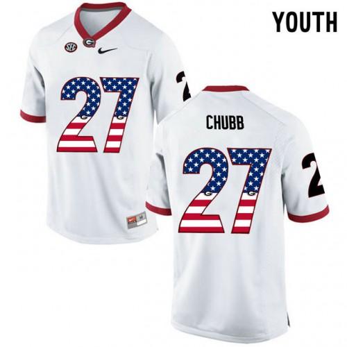 1970ec5975b Georgia Bulldogs #27 Nick Chubb White USA Flag Youth College Football Jersey