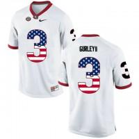 Georgia Bulldogs #3 Todd Gurley II White USA Flag College Football Jersey