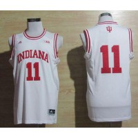 Hoosiers #11 Isiah Thomas White Big 10 Patch Basketball Stitched NCAA Jersey