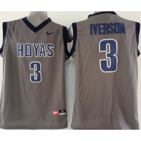 Hoyas #3 Allen Iverson Grey Basketball Stitched NCAA Jersey