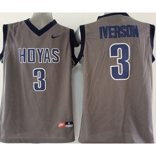 2521a2532220 Hoyas  3 Allen Iverson Grey Basketball Stitched NCAA Jersey