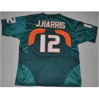 Hurricanes #12 Jacory Harris Green Stitched NCAA Jerseys