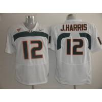 Hurricanes #12 Jacory Harris White Stitched NCAA Jerseys