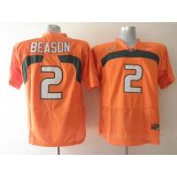 Hurricanes #2 Jon Beason Orange Stitched NCAA Jerseys
