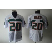 Hurricanes #20 Ed Reed White Stitched NCAA Jerseys