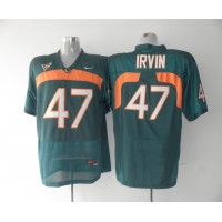 Hurricanes #47 Michael Irvin Green Stitched NCAA Jerseys