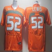 Hurricanes #52 Ray Lewis Orange Stitched NCAA Jerseys