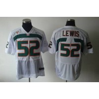 Hurricanes #52 Ray Lewis White Stitched NCAA Jerseys