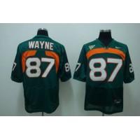 Hurricanes #87 Reggie Wayn Green Stitched NCAA Jersey