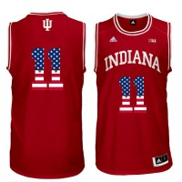 Indiana Hoosiers #11 Isiah Thomas Red 40 Big 10 Patch USA Flag College Basketball Jersey