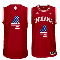 Indiana Hoosiers #4 Victor Oladipo Red 40 Big 10 Patch USA Flag College Basketball Jersey