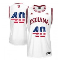 Indiana Hoosiers #40 Cody Zeller White 40 Big 10 Patch USA Flag College Basketball Jersey