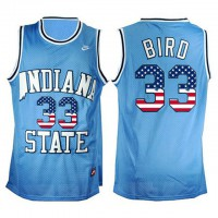 Indiana State Sycamores #33 Larry Bird USA Flag Hardwood Legends College Basketball Jersey