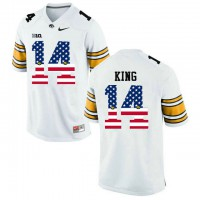 Iowa Hawkeyes #14 Desmond King White USA Flag College Football Limited Jersey
