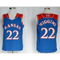 Jayhawks #22 Andrew Wiggins Blue Basketball Stitched NCAA Jersey